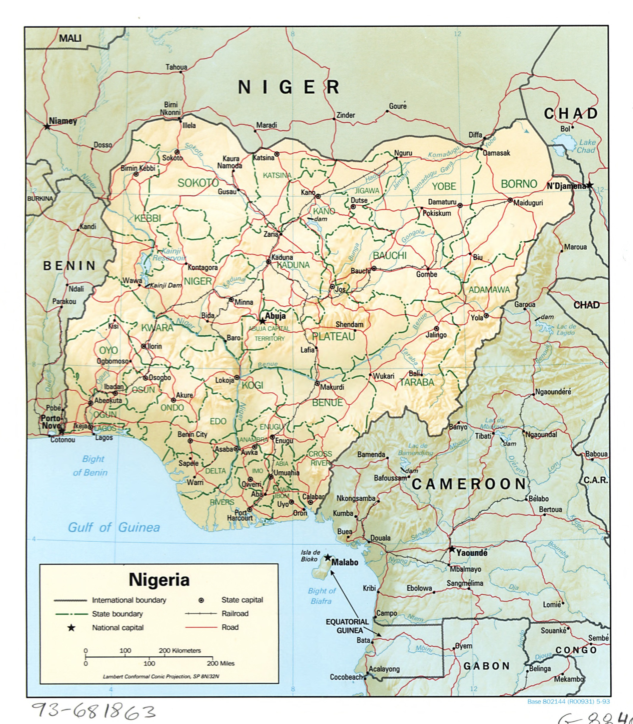Large detailed political and administrative map of Nigeria with ...