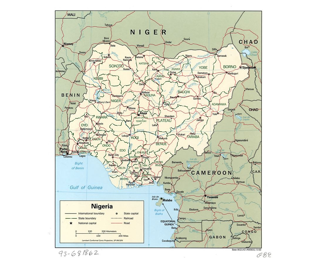 Large detailed political and administrative map of Nigeria with roads, railroads and major cities - 1993