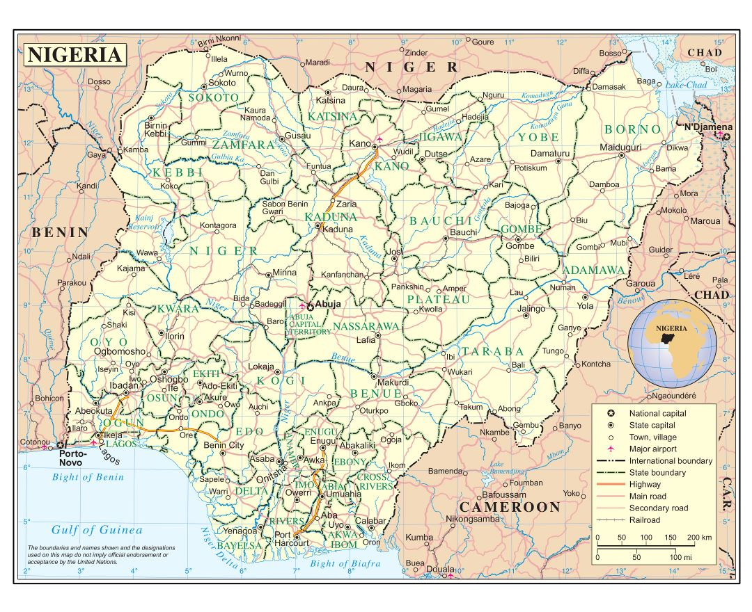 Large detailed political and administrative map of Nigeria with roads, railroads, cities and airports
