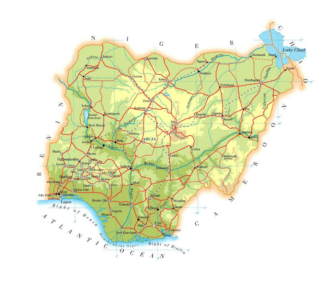 Large elevation map of Nigeria with roads, railroads, cities and airports