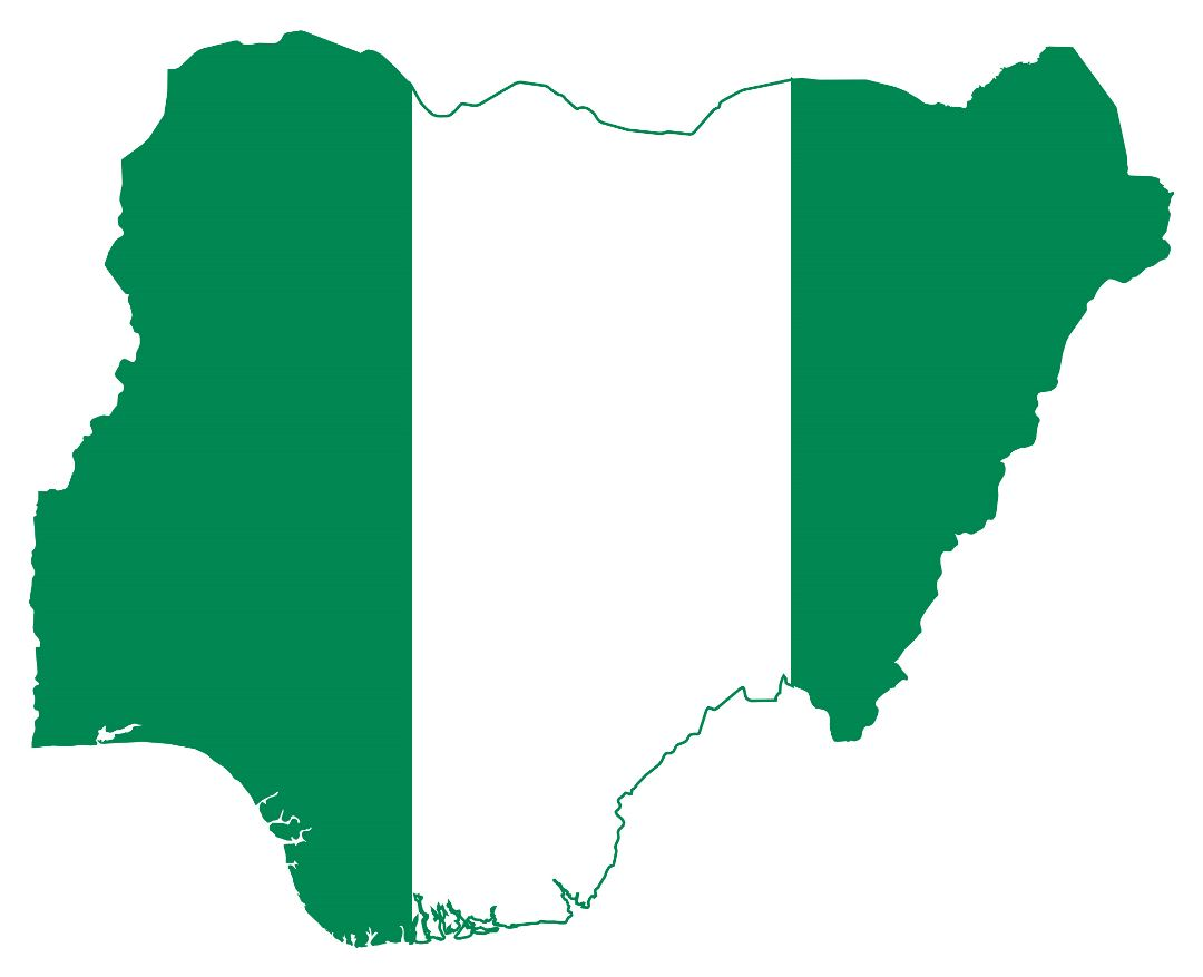 Large flag map of Nigeria