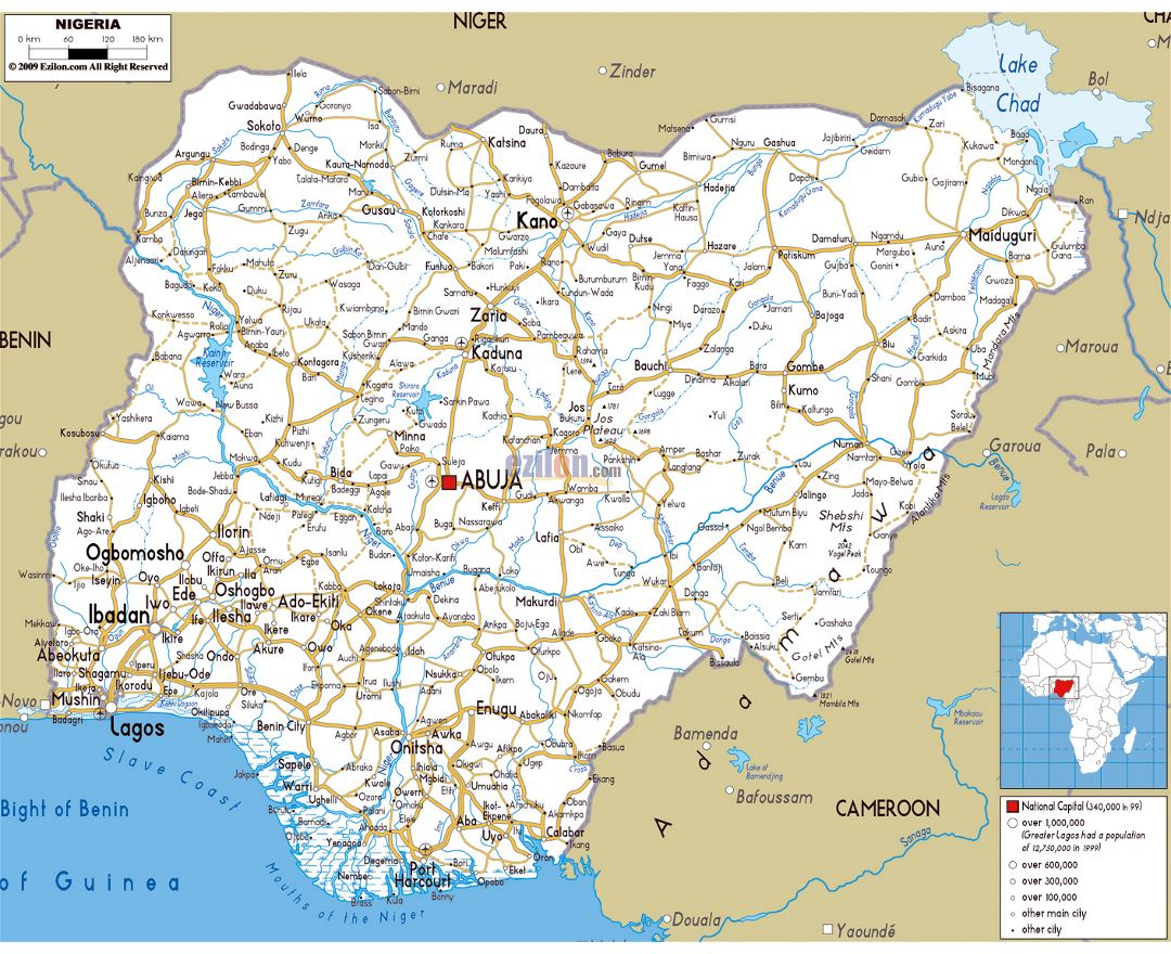 Large road map of Nigeria with cities and airports
