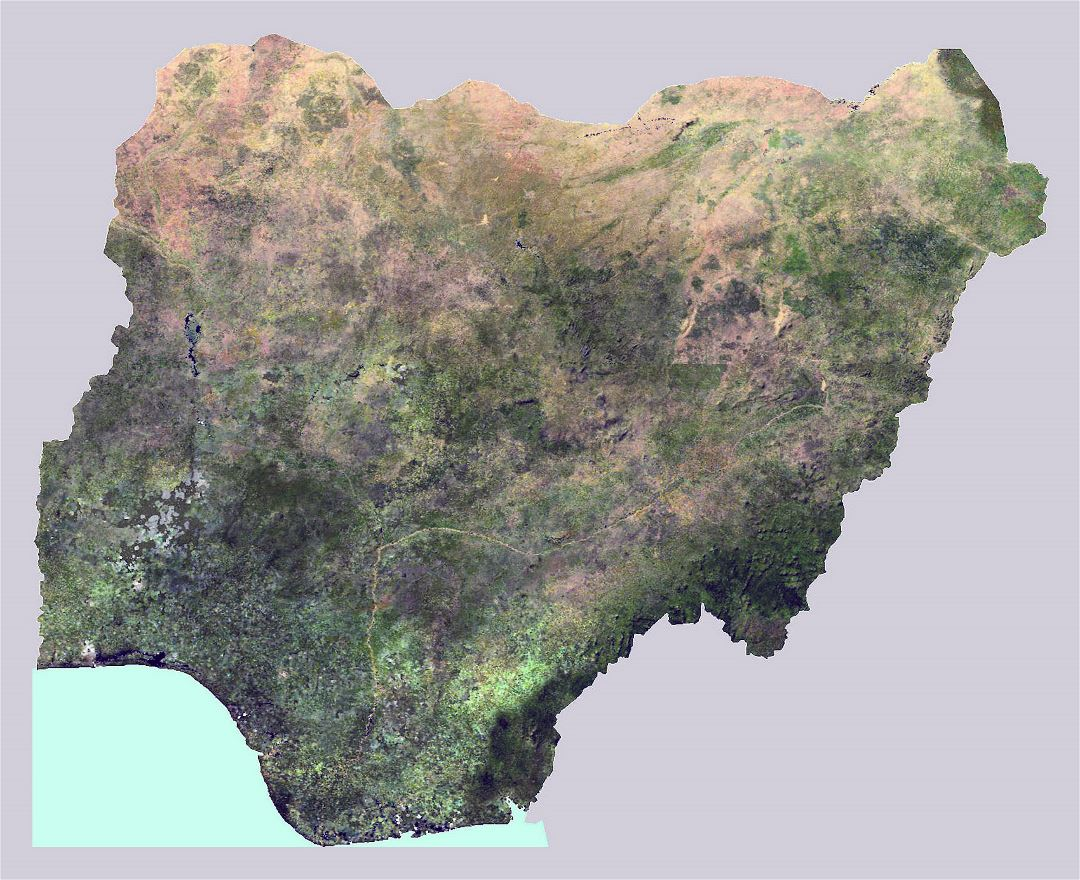 Large satellite map of Nigeria