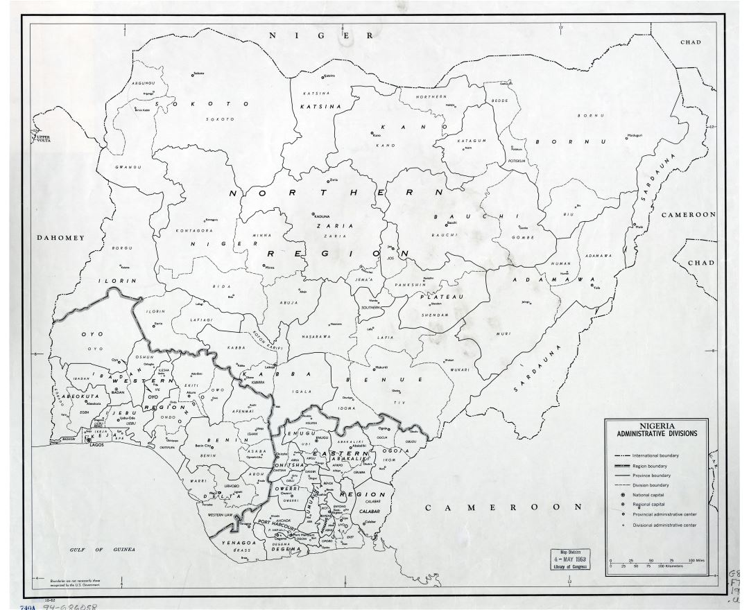 Large scale detailed administrative divisions map of Nigeria - 1962