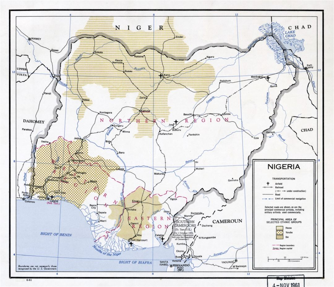 Large scale map of Nigeria with roads, railroads, major cities and airports - 1961