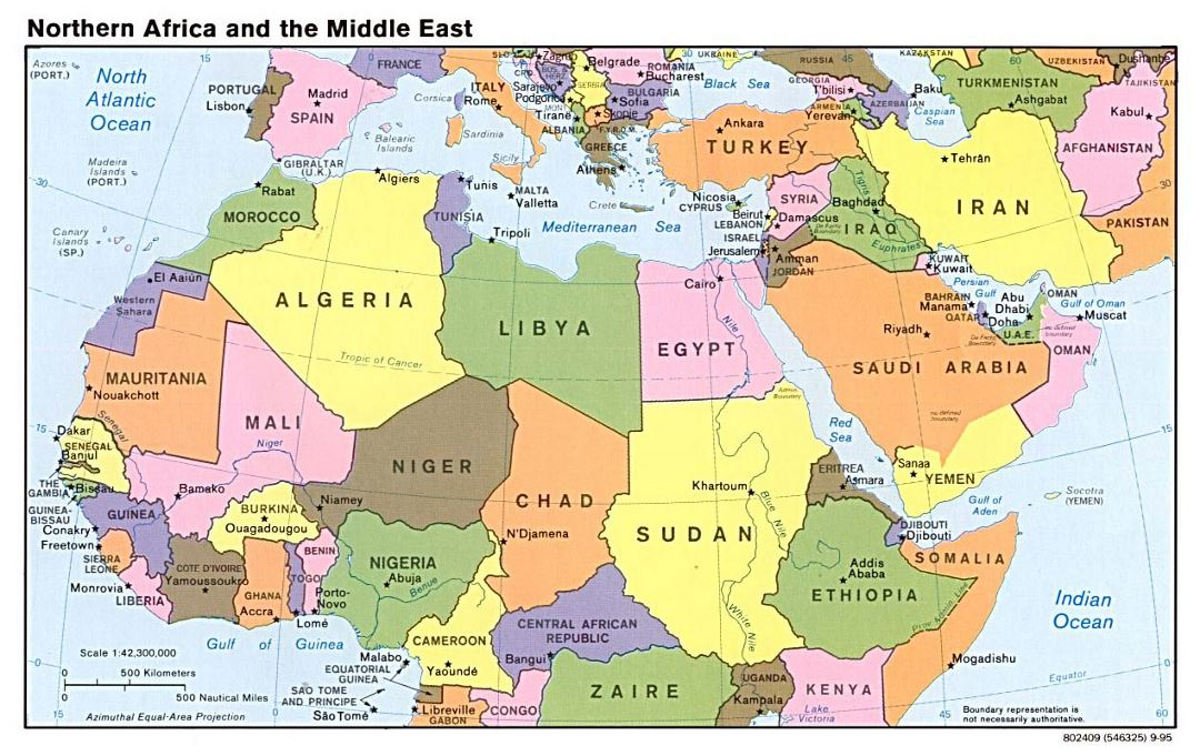 Detailed political map of North Africa and the Middle East with capitals - 1995