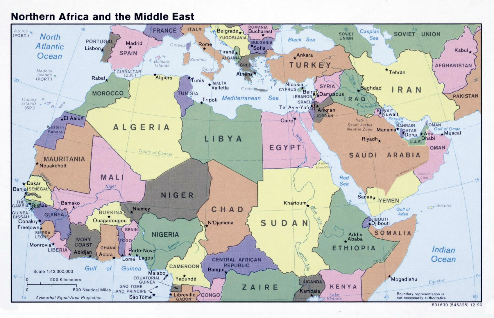 Large political map of North Africa and the Middle East 1990