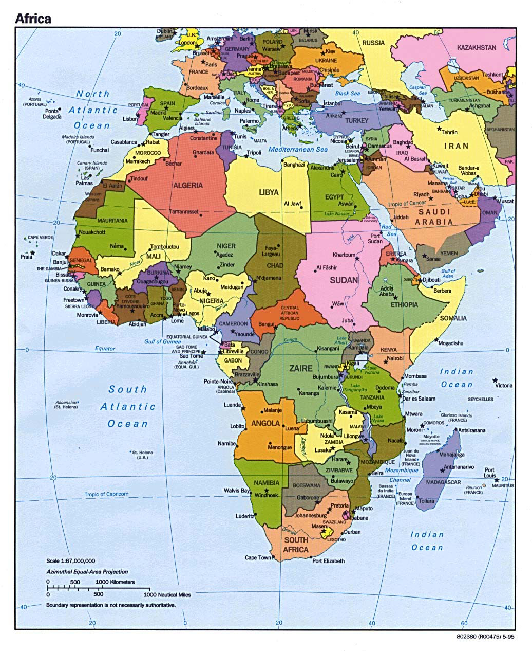Political map of Africa with major cities and capitals   1995