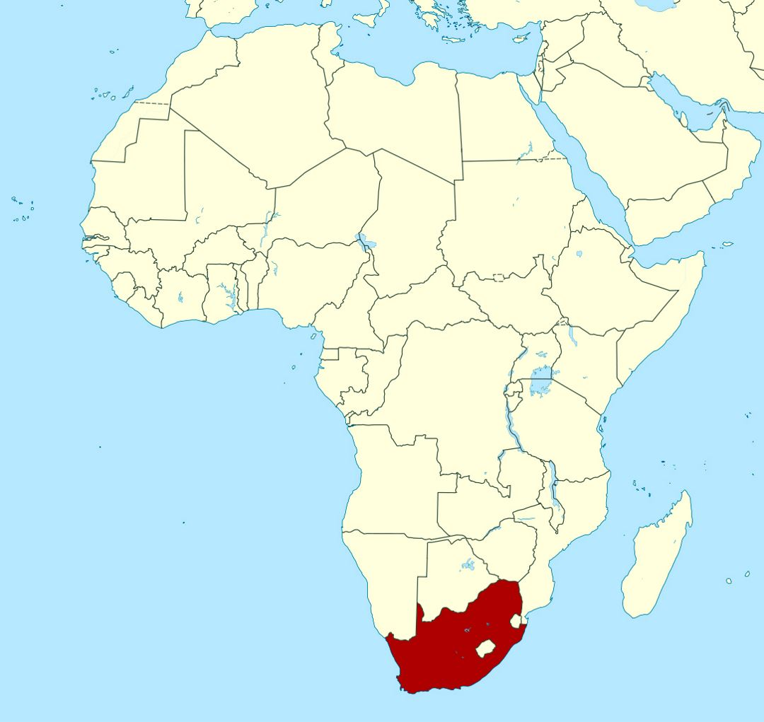 Detailed location map of South Africa in Africa