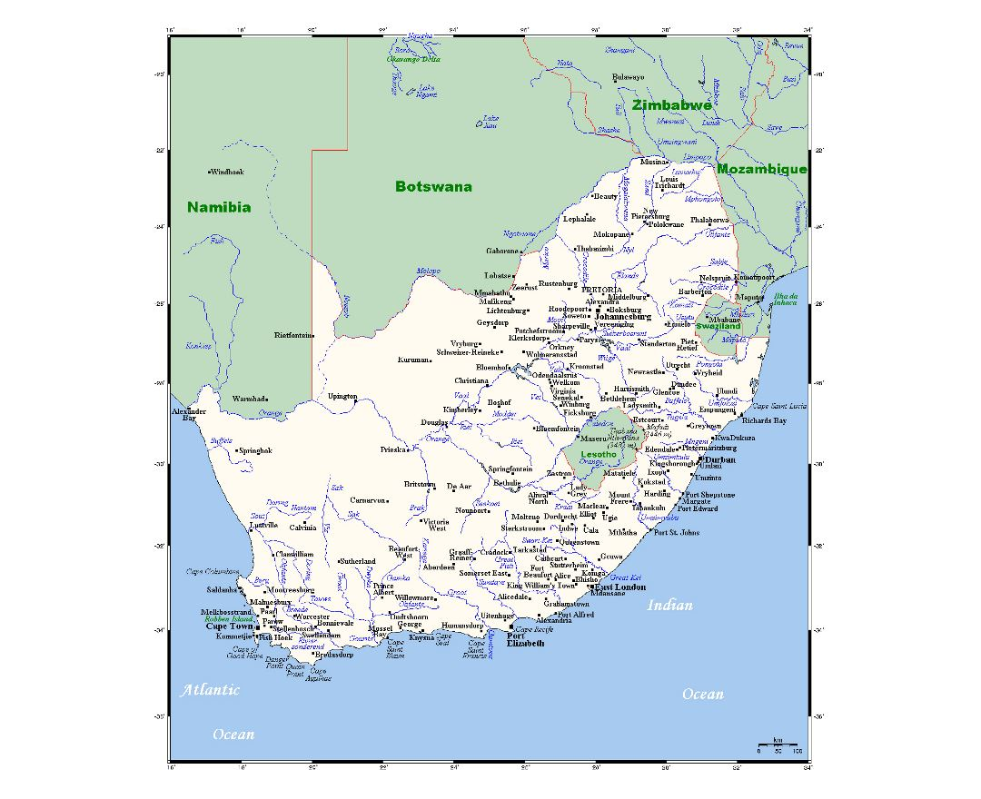 Detailed map of South Africa with all cities