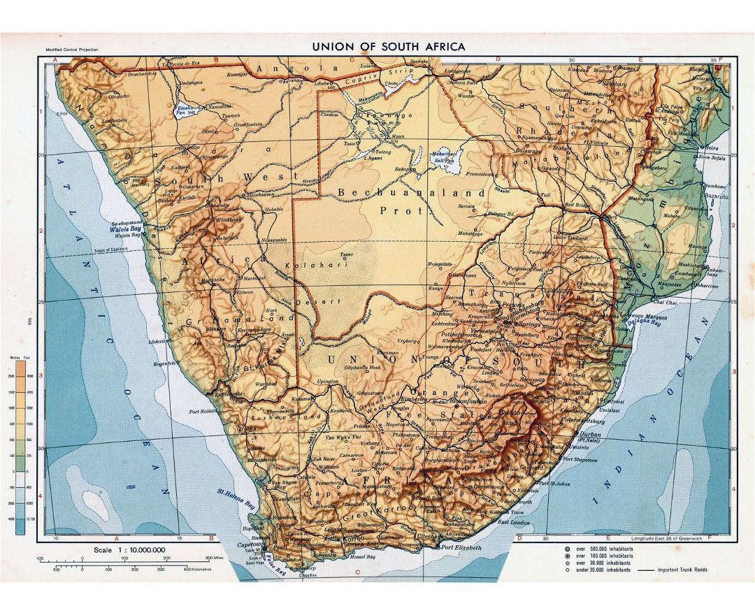 Detailed physical map of Union of South Africa