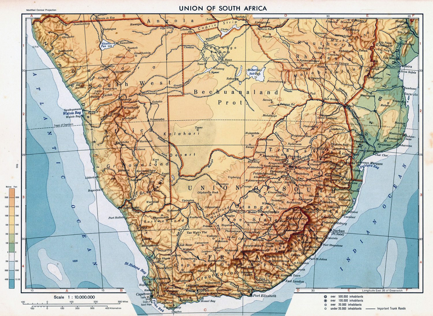 Detailed Physical Map Of Union Of South Africa South Africa - South africa map physical