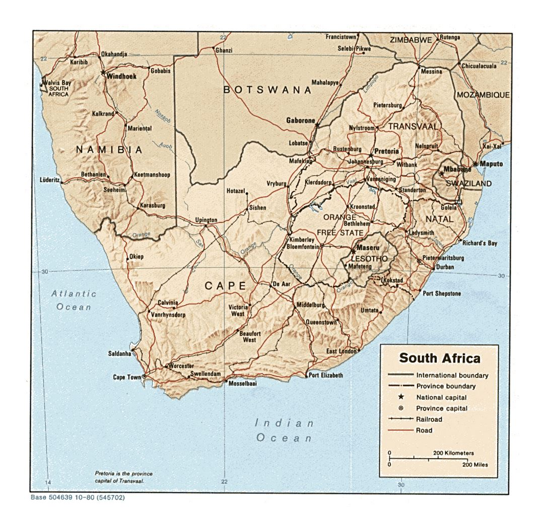 Detailed political and administrative map of South Africa with relief, roads, railroads and cities - 1980