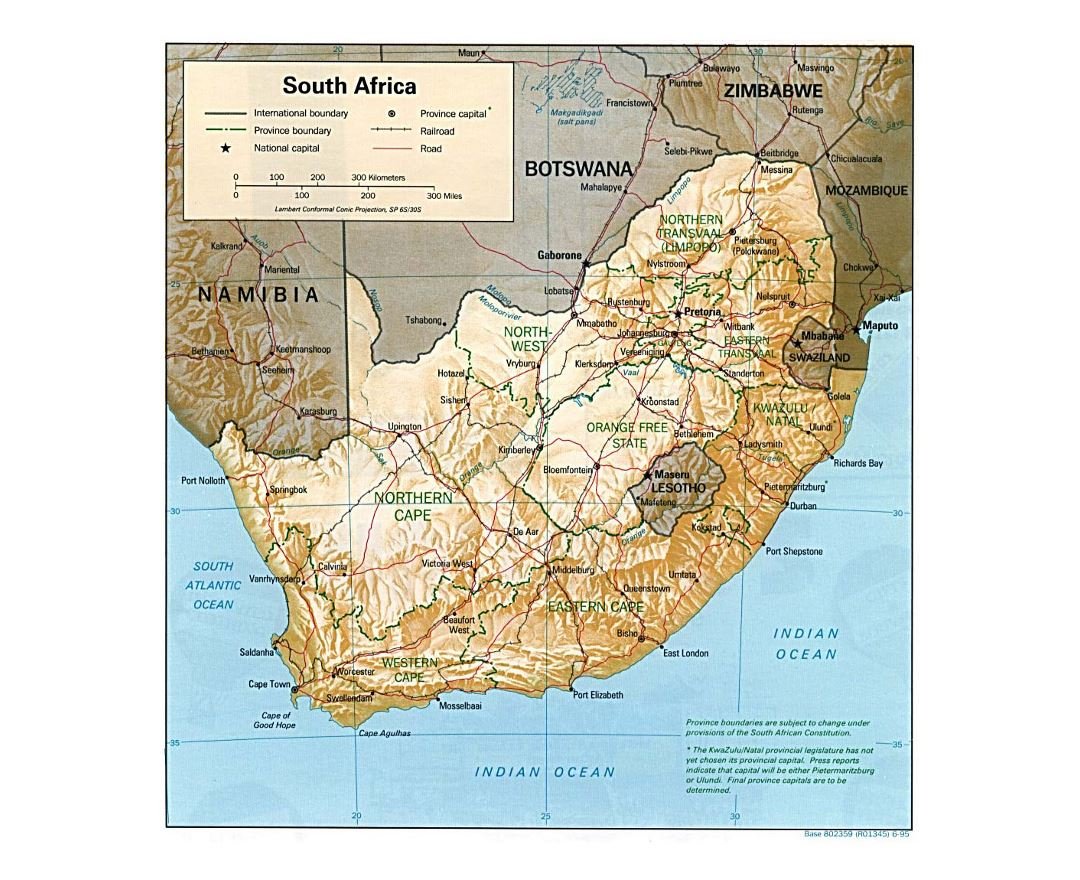 Detailed political and administrative map of South Africa with relief, roads, railroads and major cities - 1995