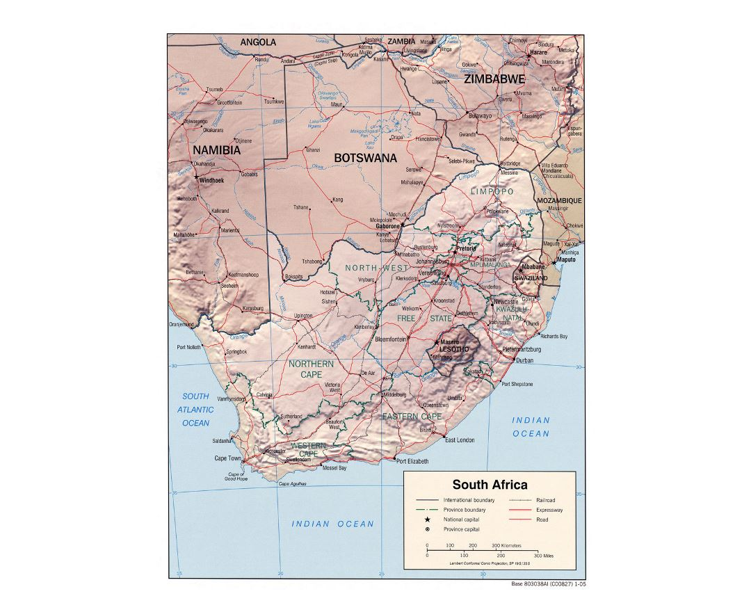 Detailed political and administrative map of South Africa with relief, roads, railroads and major cities - 2005