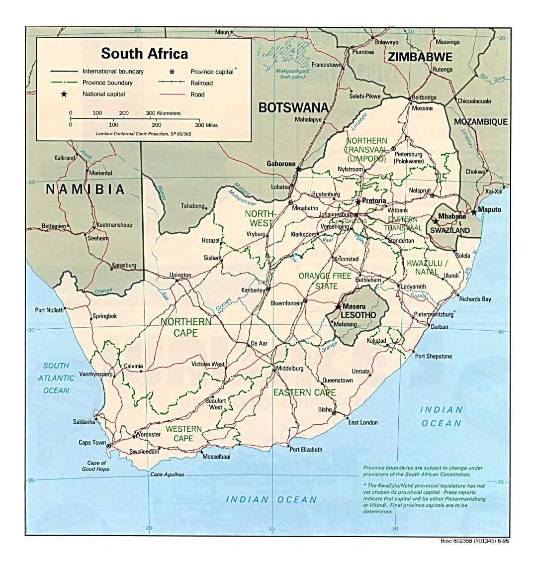 Detailed political and administrative map of South Africa with roads, railroads and major cities - 1995