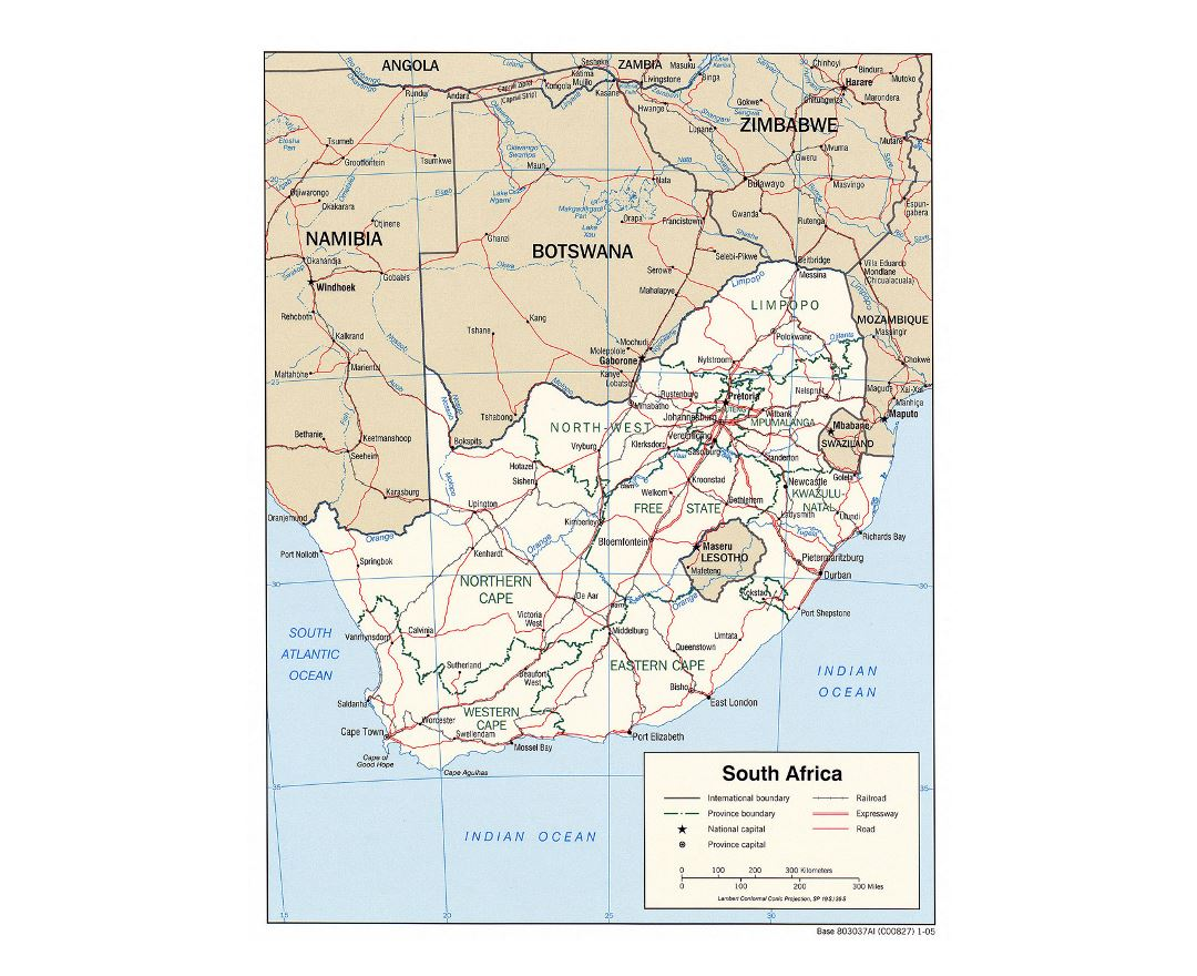 Detailed political and administrative map of South Africa with roads, railroads and major cities - 2005