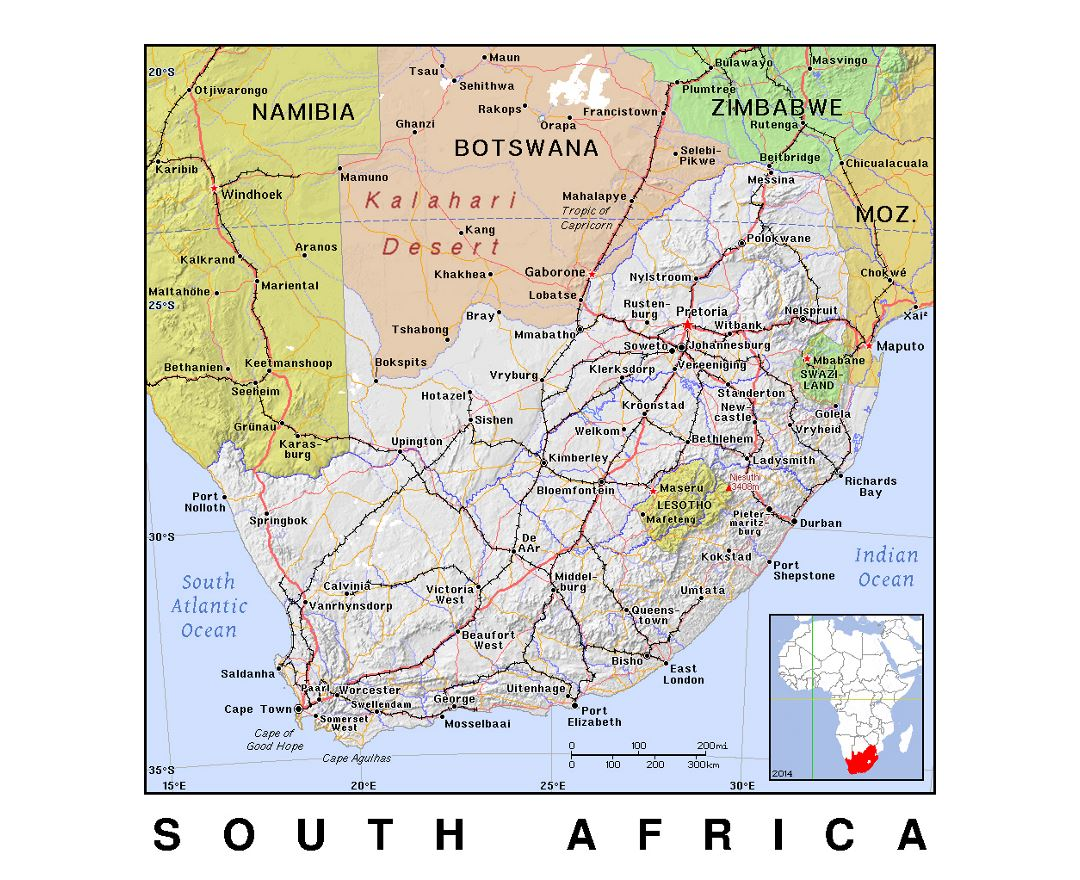 Detailed political map of South Africa with relief