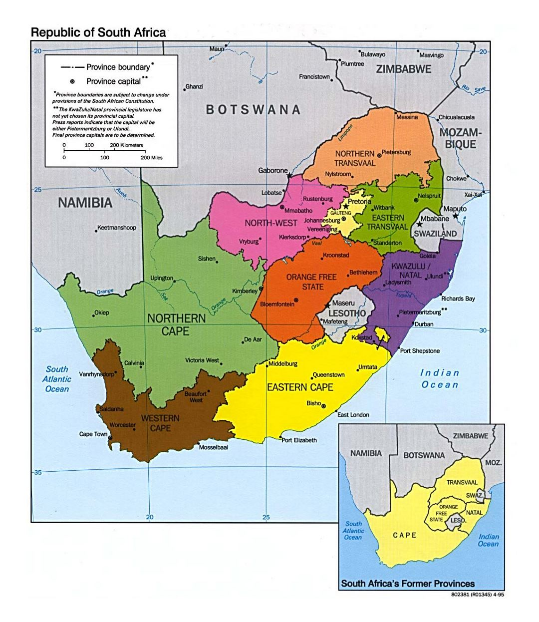 Detailed provinces map of South Africa - 1995