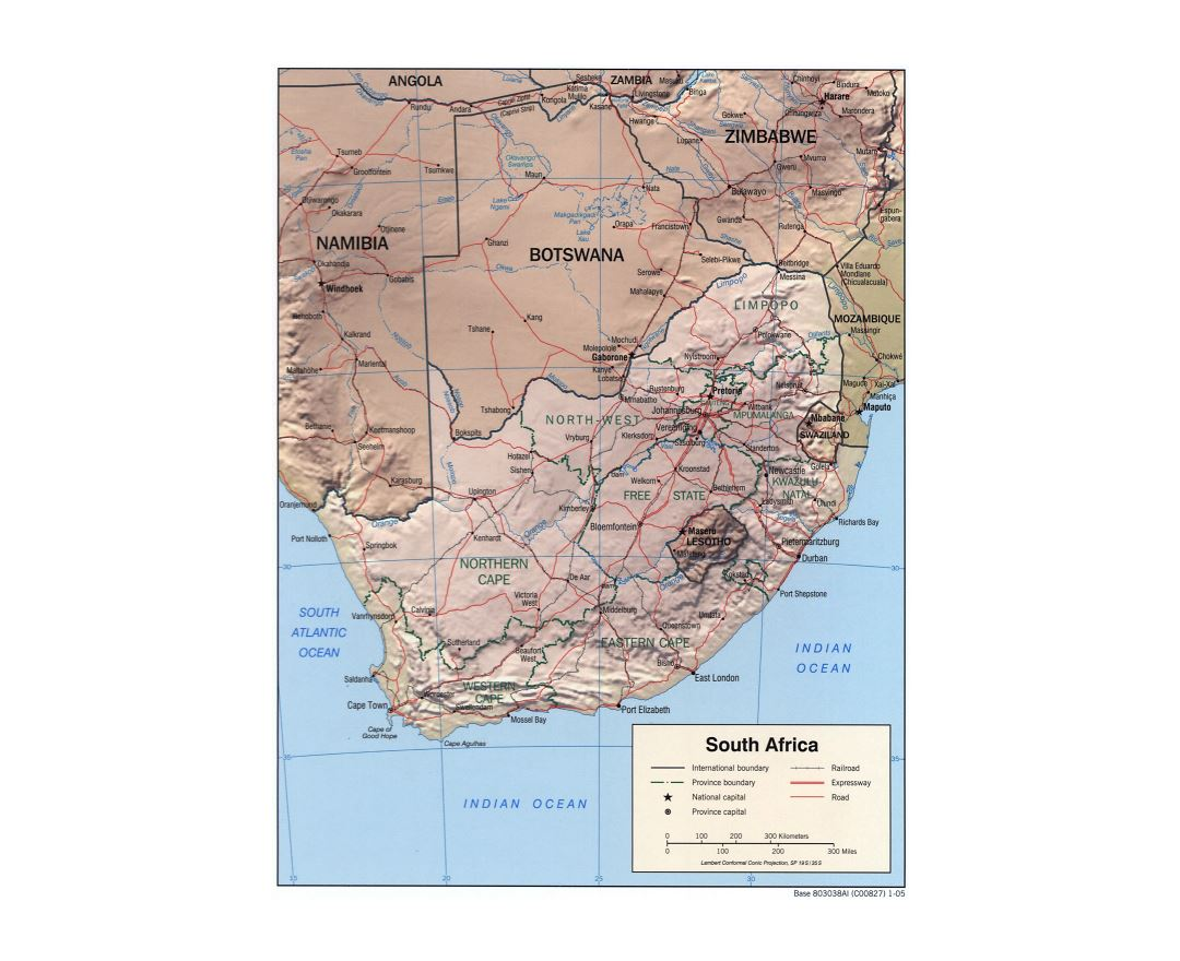 Maps of South Africa Detailed map of Republic of South Africa in