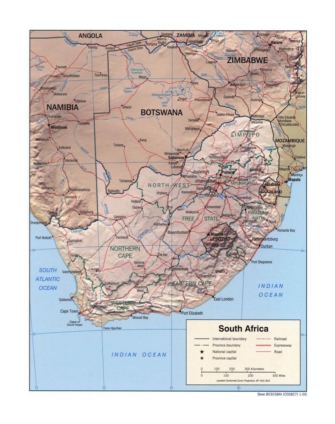 Large detailed political and administrative map of South Africa with relief, roads, railroads and major cities - 2005