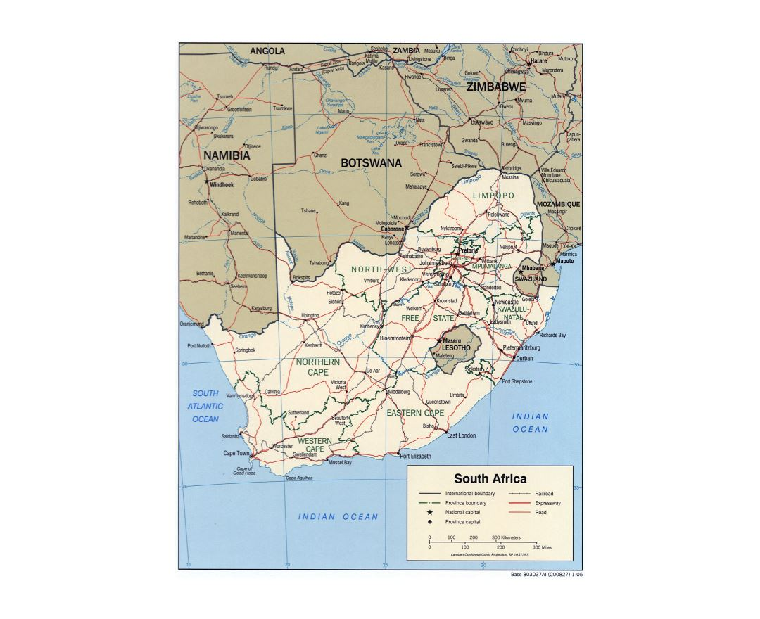 Large detailed political and administrative map of South Africa with roads, railroads and major cities - 2005