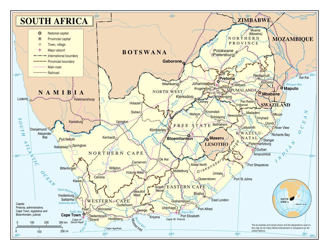 Large detailed political and administrative map of South Africa with roads, railroads, cities and airports