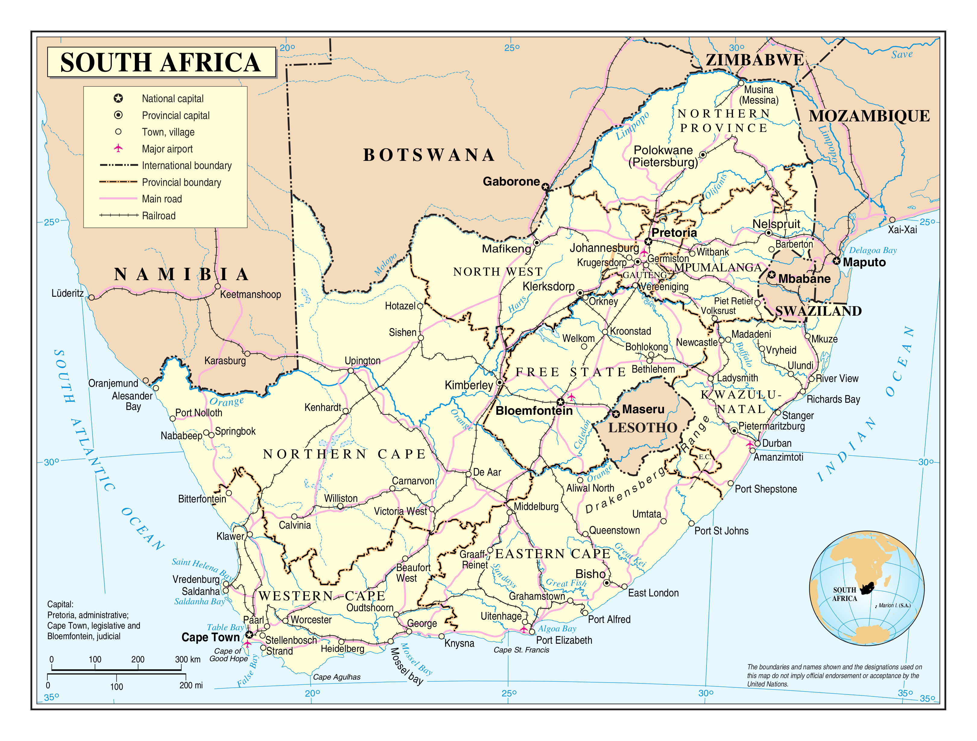 Large detailed political and administrative map of South Africa with