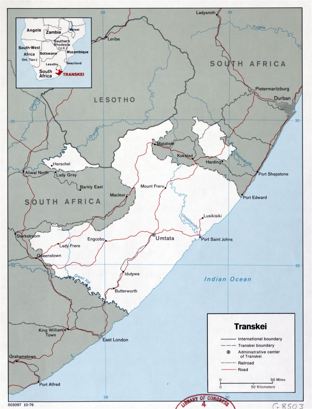 Large detailed political map of Transkei with roads, railroads and major cities - 1976