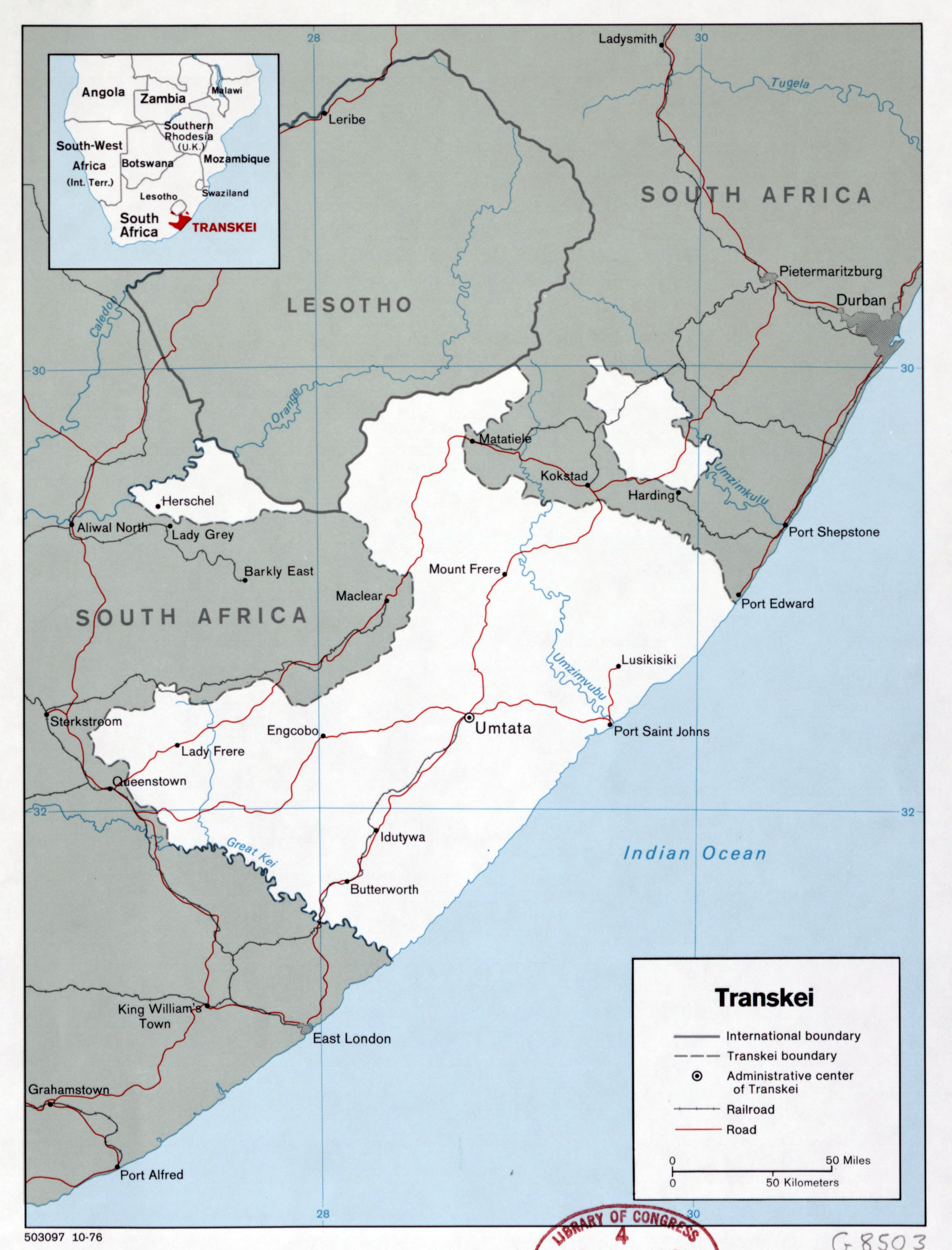 Large detailed political map of Transkei with roads railroads and