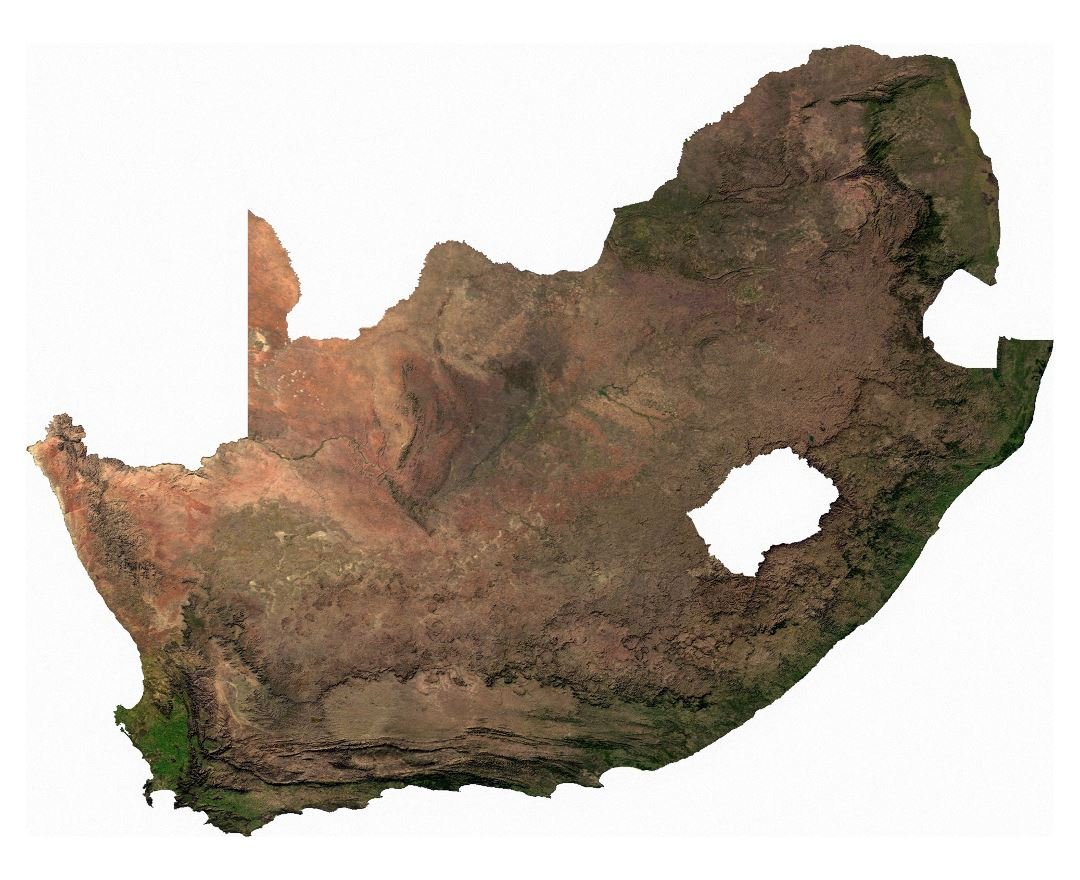 Large detailed satellite map of South Africa