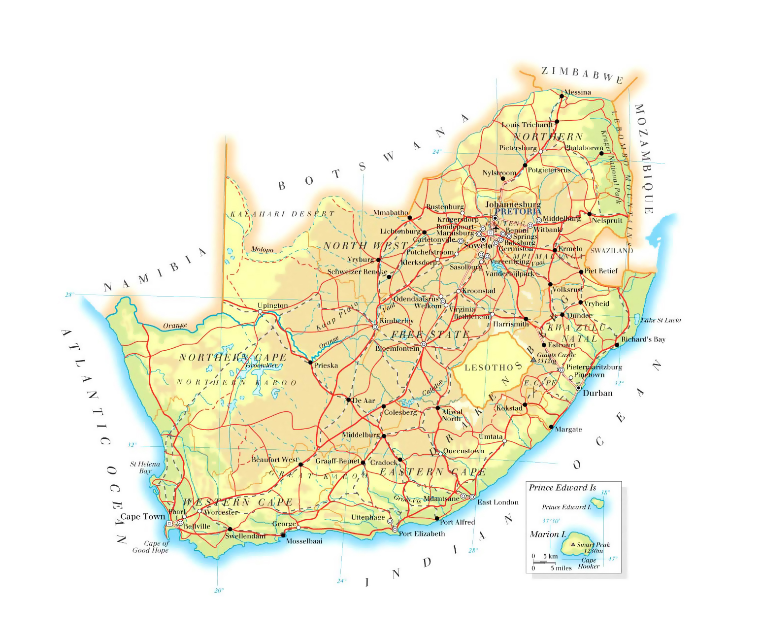 map of south africa roads Large Elevation Map Of South Africa With Roads Railroads Cities map of south africa roads