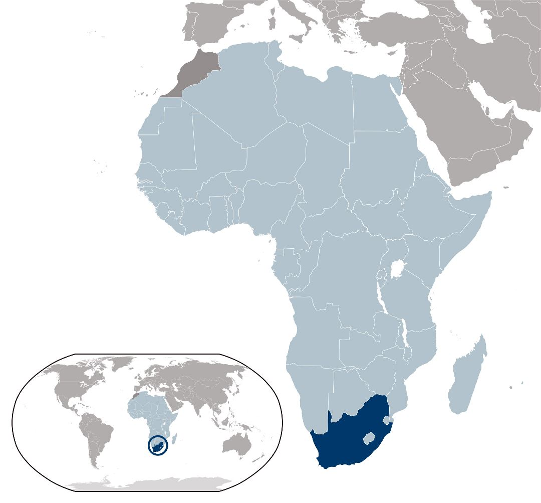 Large location map of South Africa