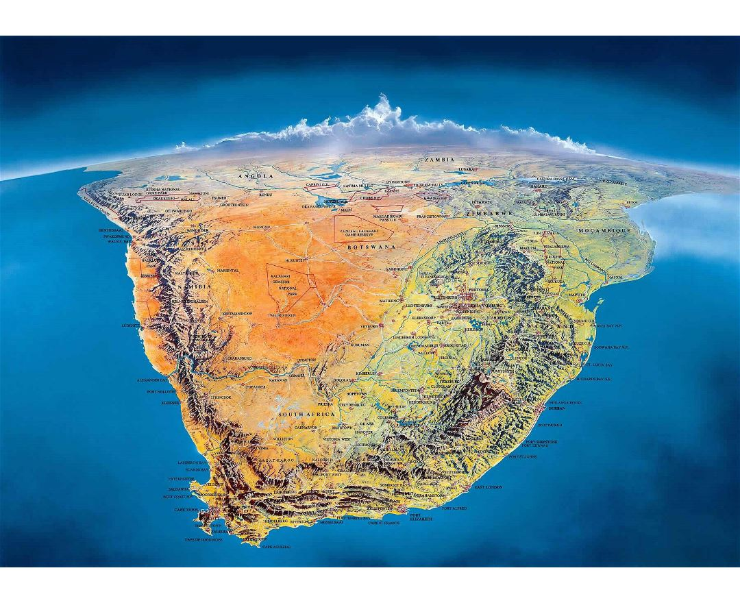 Large panoramiс map of Countries of South Africa