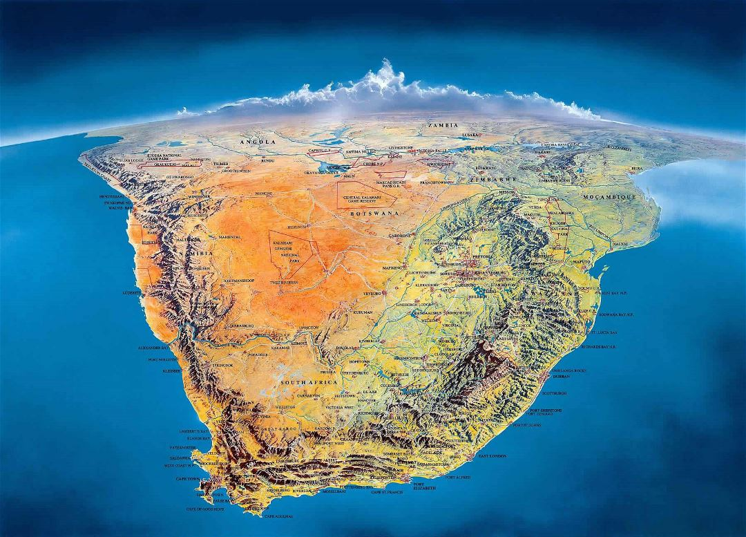 Large panoramic map of Countries of South Africa