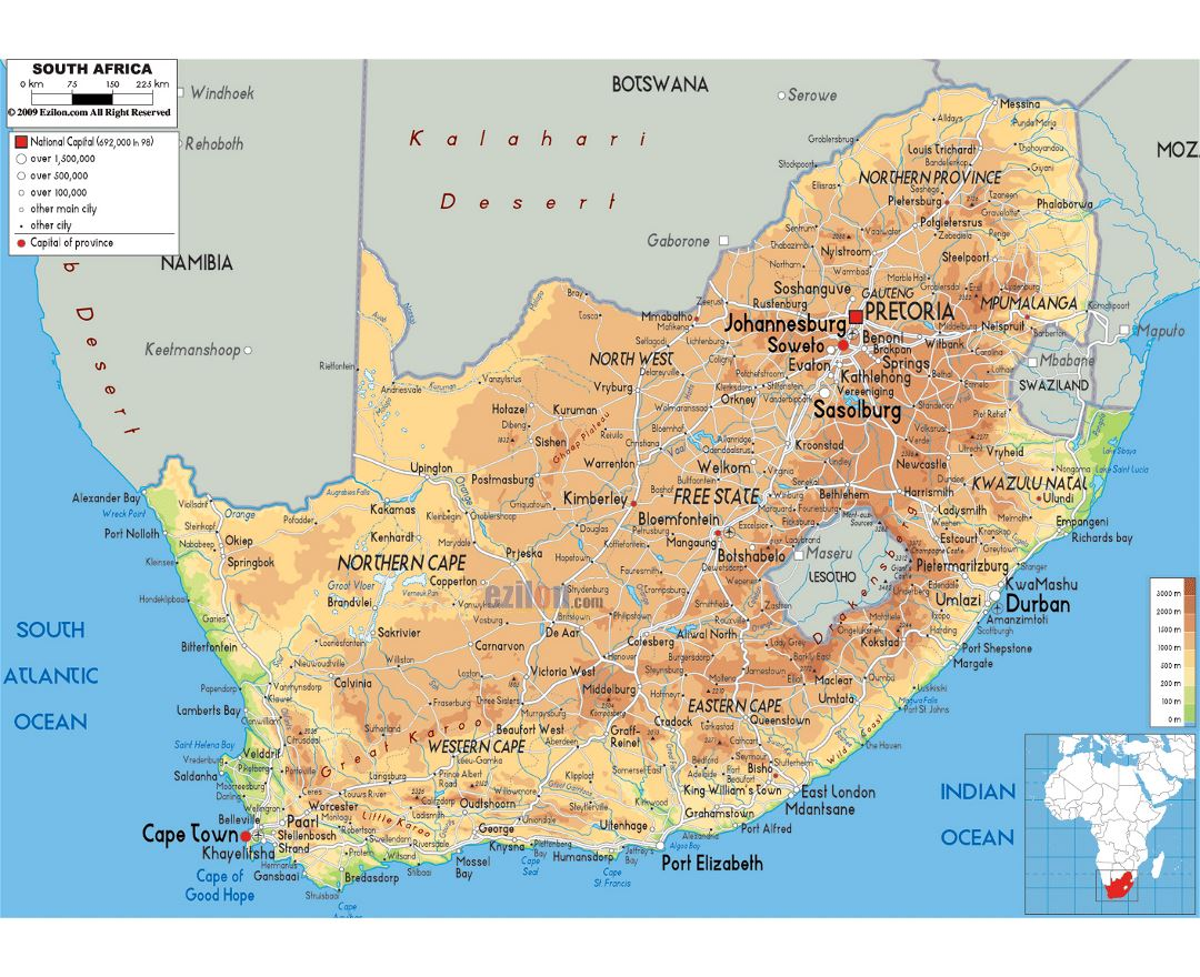 Large physical map of South Africa with roads, cities and airports