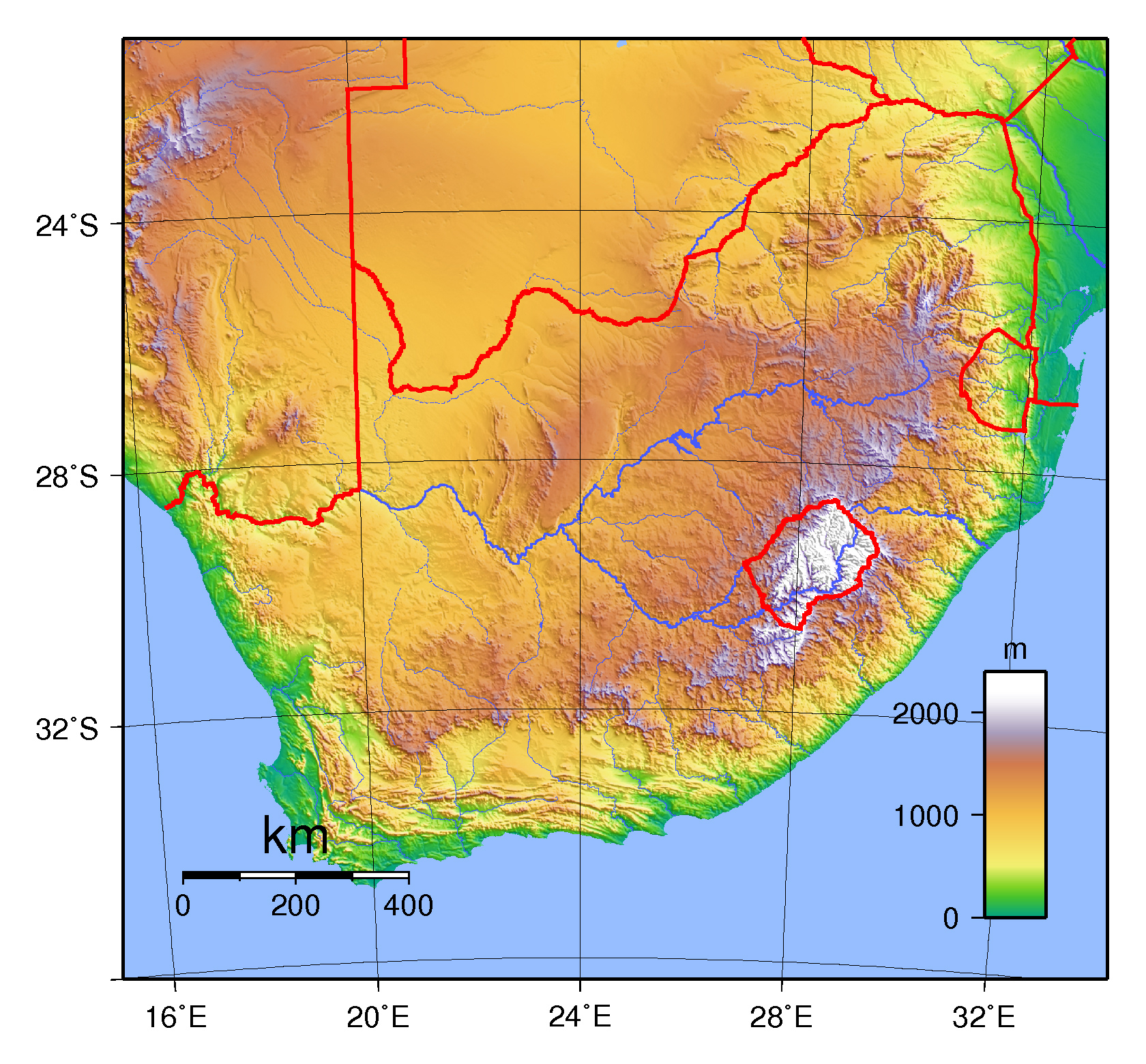Large Physical Map Of South Africa South Africa Africa - Map of africa physical