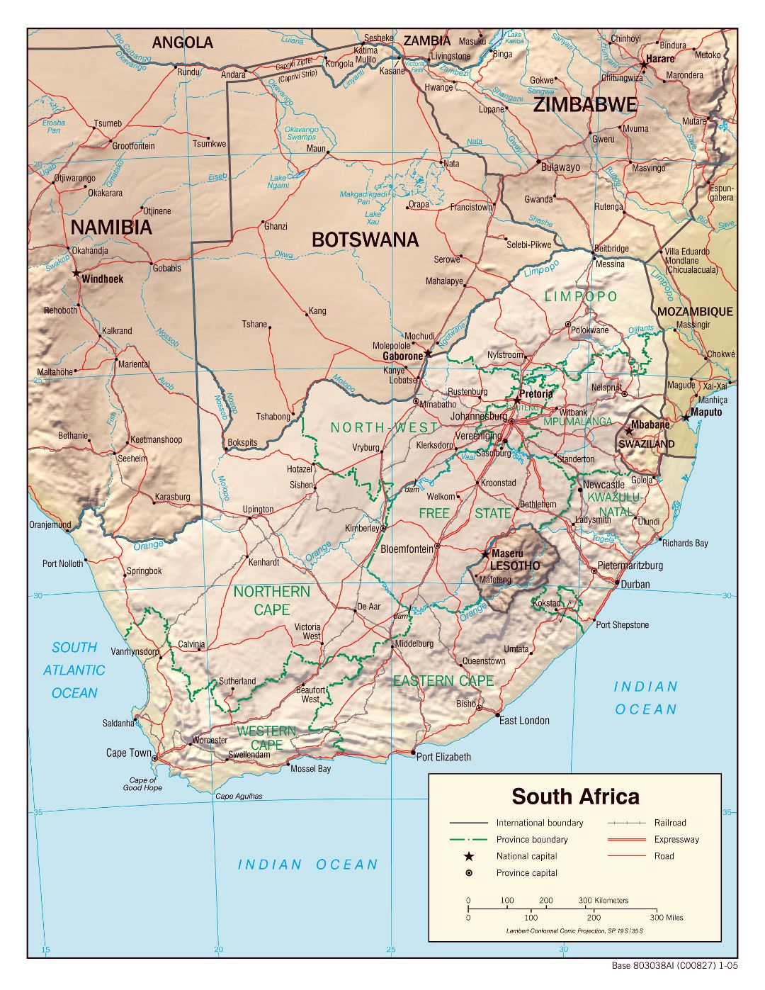 Large political and administrative map of South Africa with relief, roads, railroads and major cities - 2005