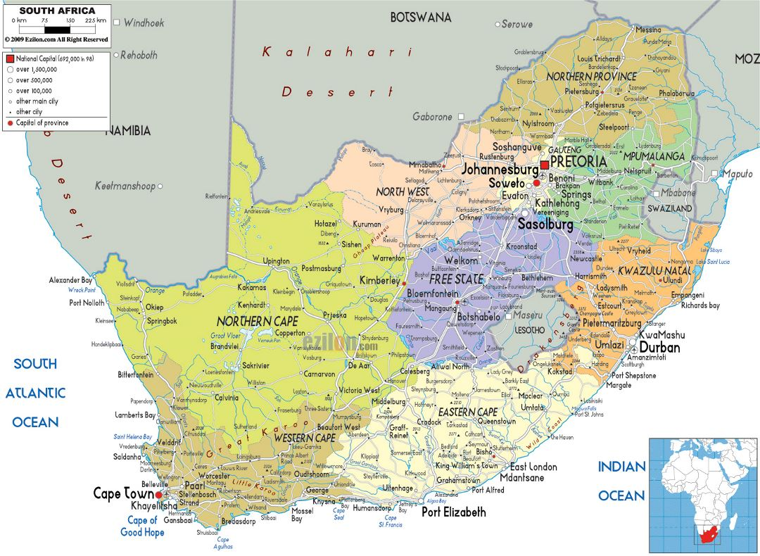 Large political and administrative map of South Africa with roads, cities and airports