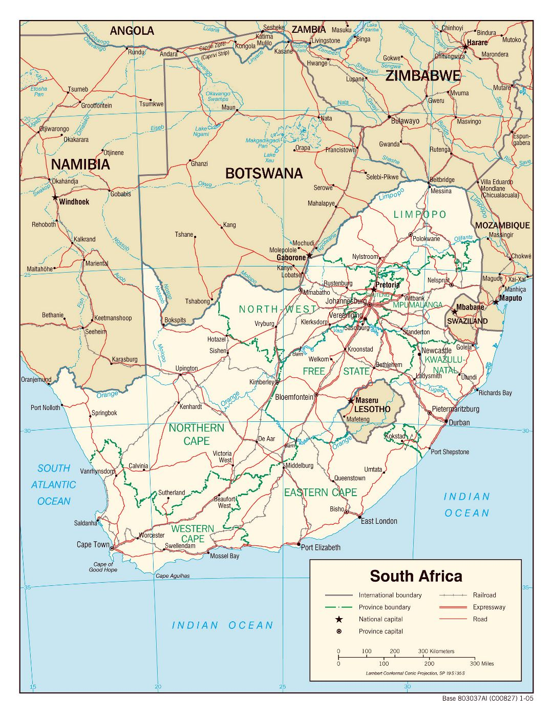 Large political and administrative map of South Africa with roads, railroads and major cities - 2005