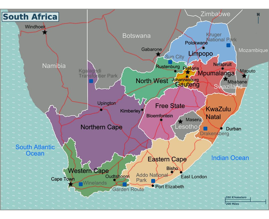 Large regions map of South Africa