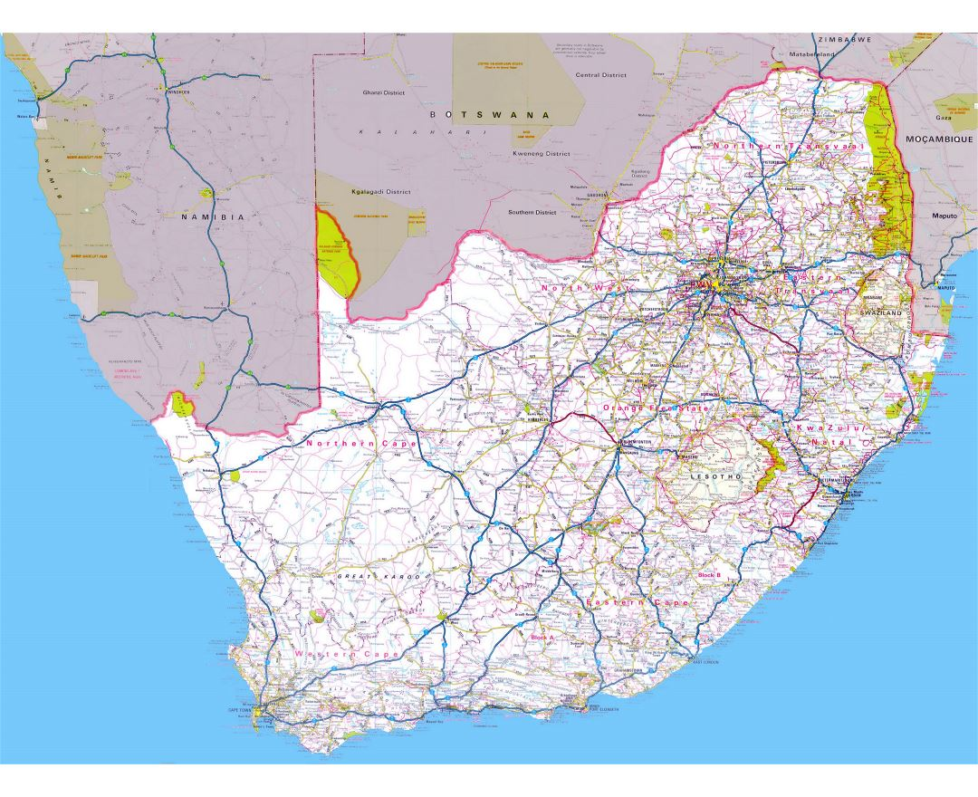 Large road map of South Africa