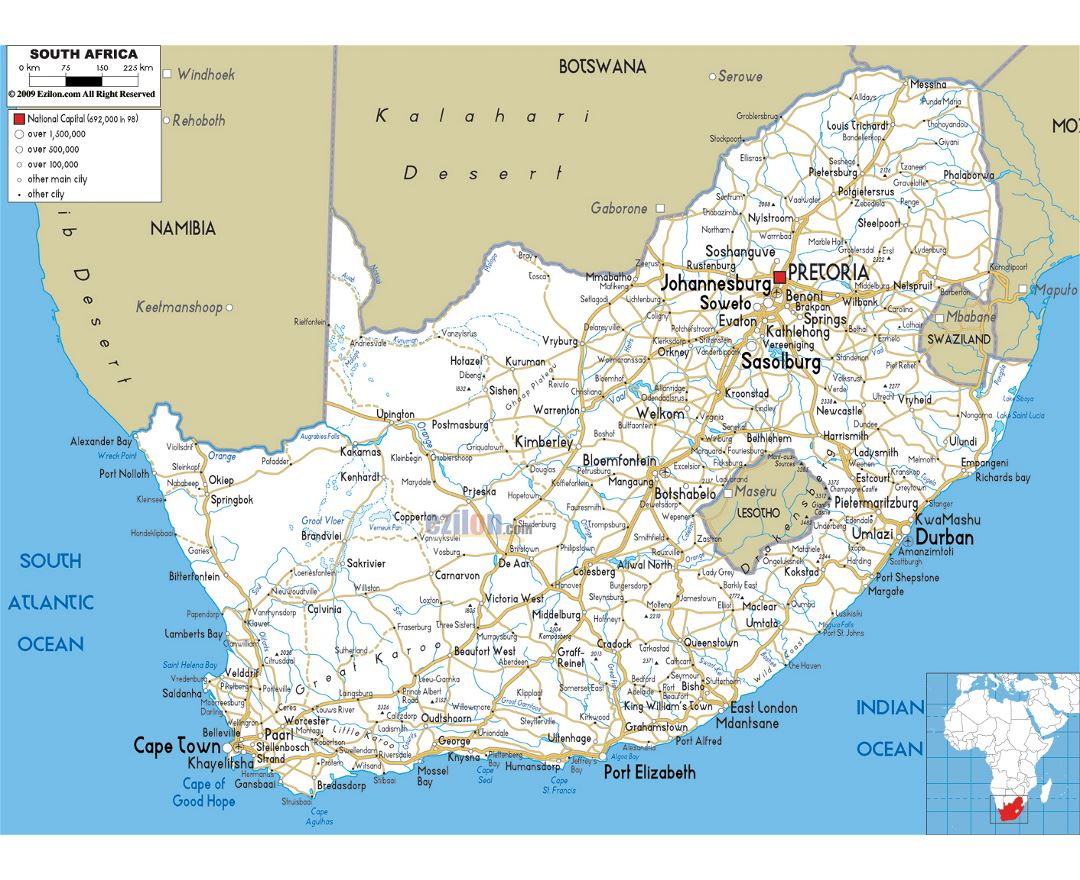 Large road map of South Africa with cities and airports