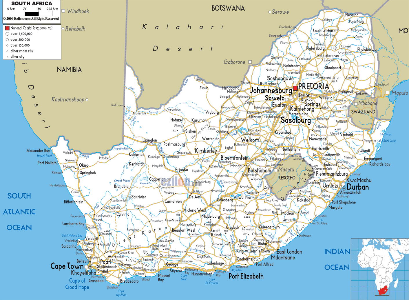 Large Road Map Of South Africa With Cities And Airports South - Map of south africa with cities