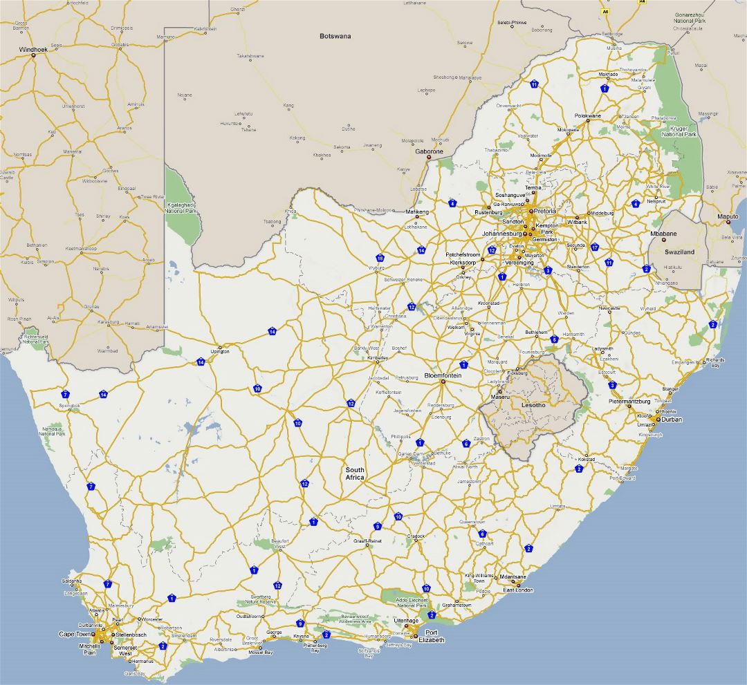Large road map of South Africa with cities