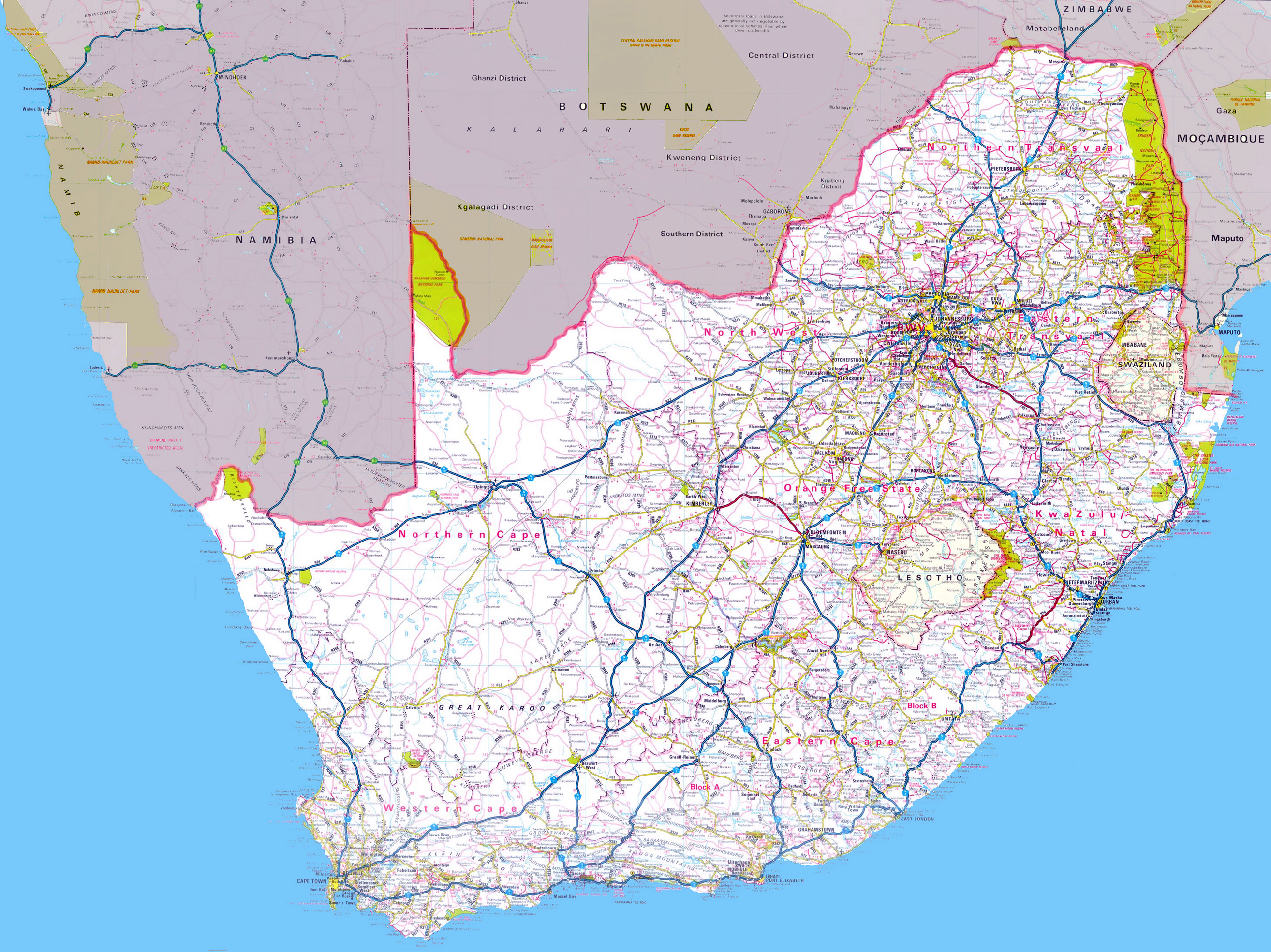 Large road map of south africa south africa africa mapsland large road map of south africa gumiabroncs Image collections