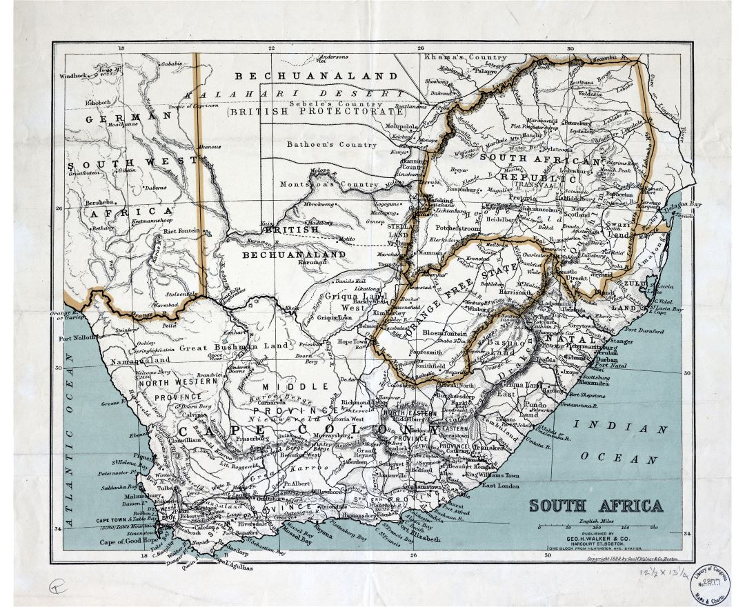 Large scale detailed old map of South Africa with relief and other marks - 1899