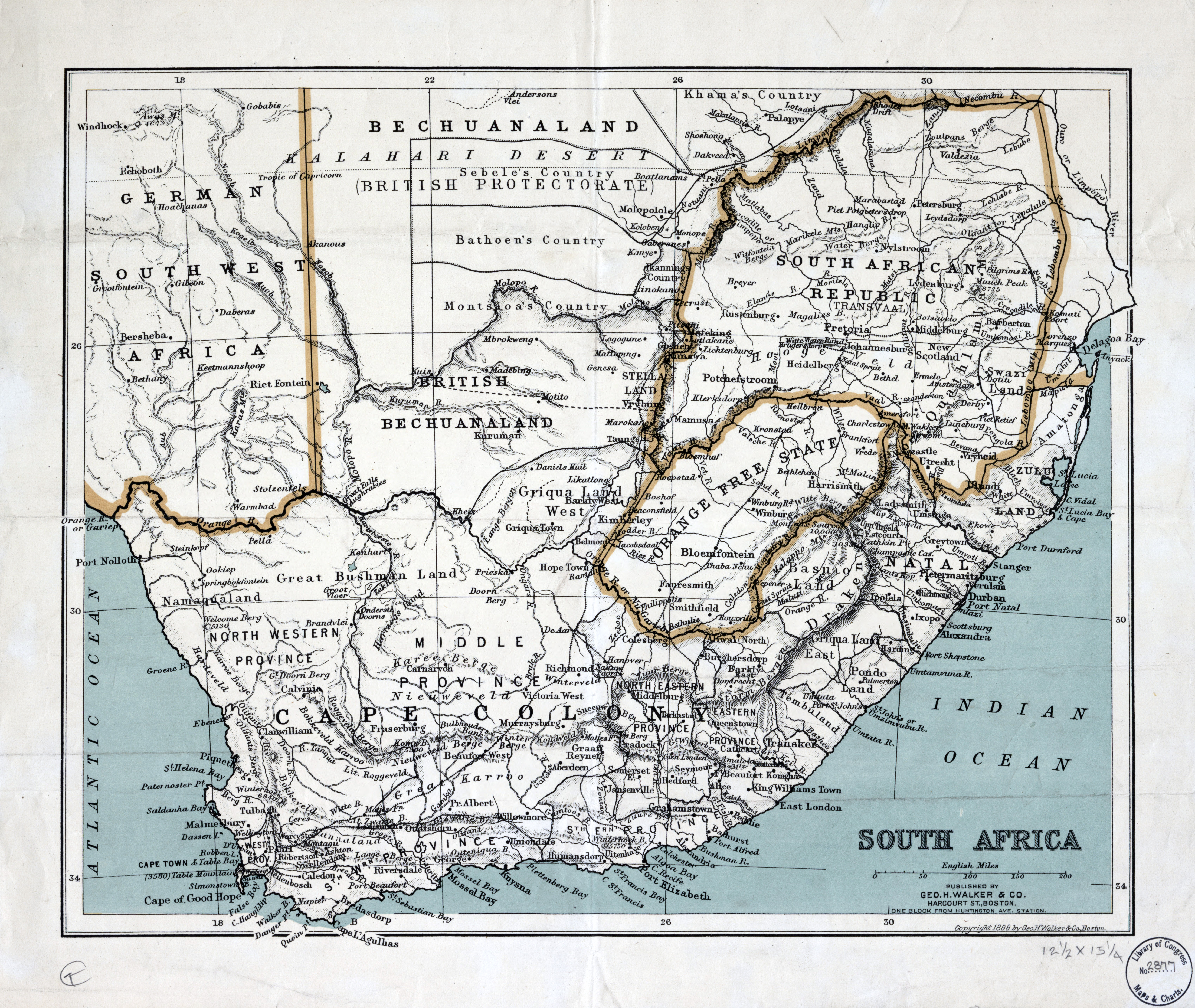 Large scale detailed old map of South Africa with relief and other