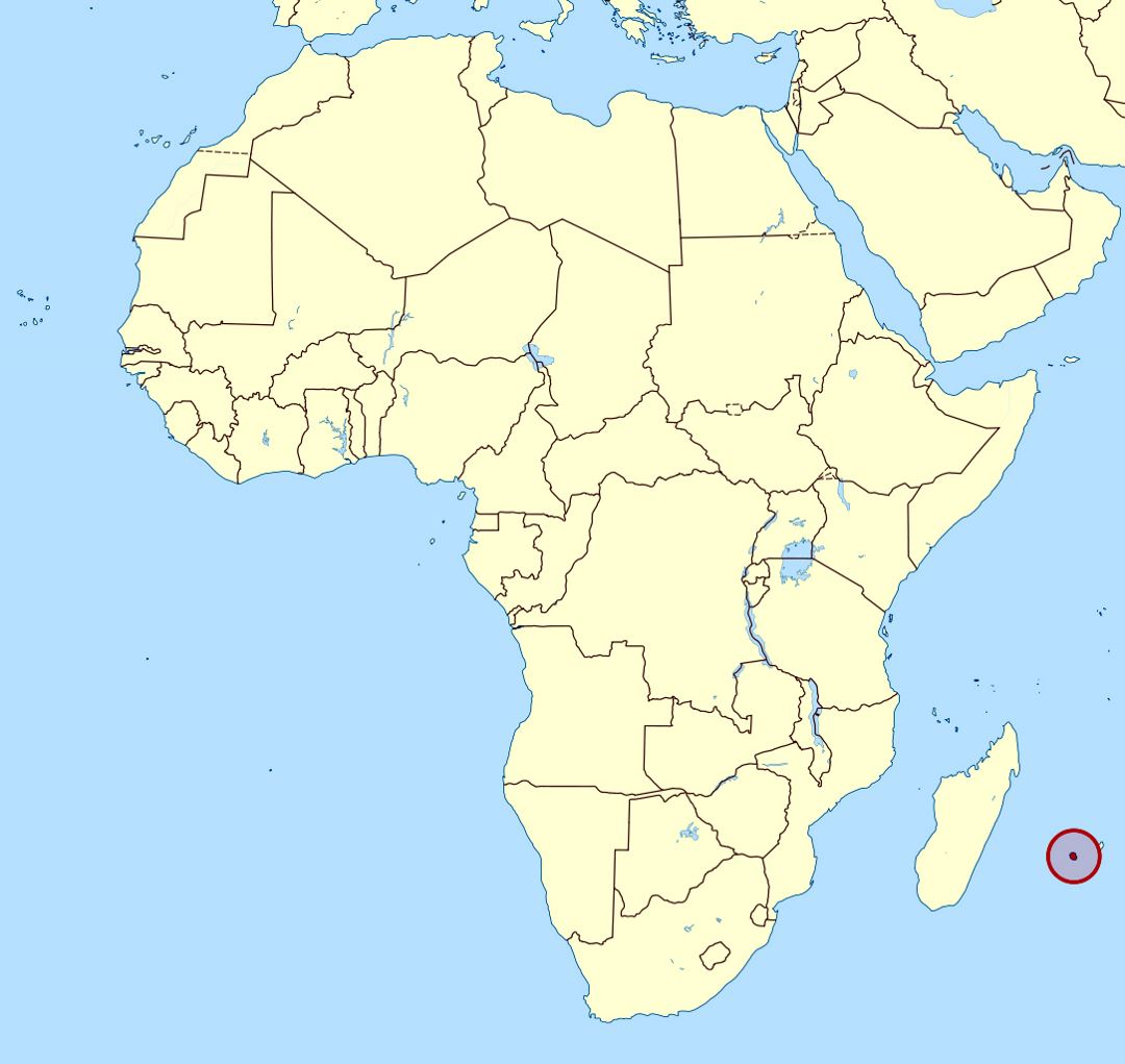 Detailed location map of Reunion in Africa