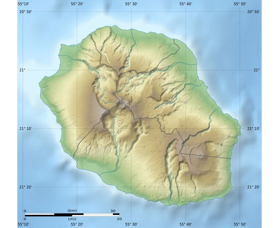 Detailed relief map of Reunion